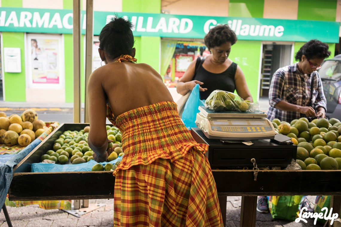 Merchant dressed in a traditional Creole dress sells fruits and vegatables at Le Grande Marché Couvert, Fort-de-France, Martinique