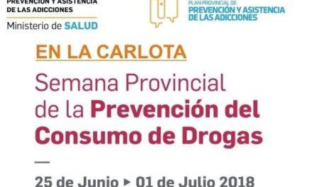 """La Carlota: comenzó la """"semana provincial de la prevención del consumo de drogas"""""""