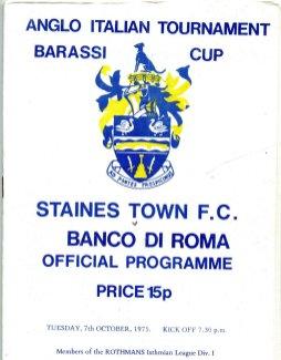 Il Match Program della Barassi Cup tra Staines Town e Banco di Roma
