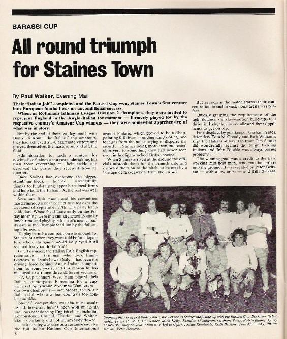 La stampa inglese celebra il trionfo dello Staines Town contro il Banco di Roma