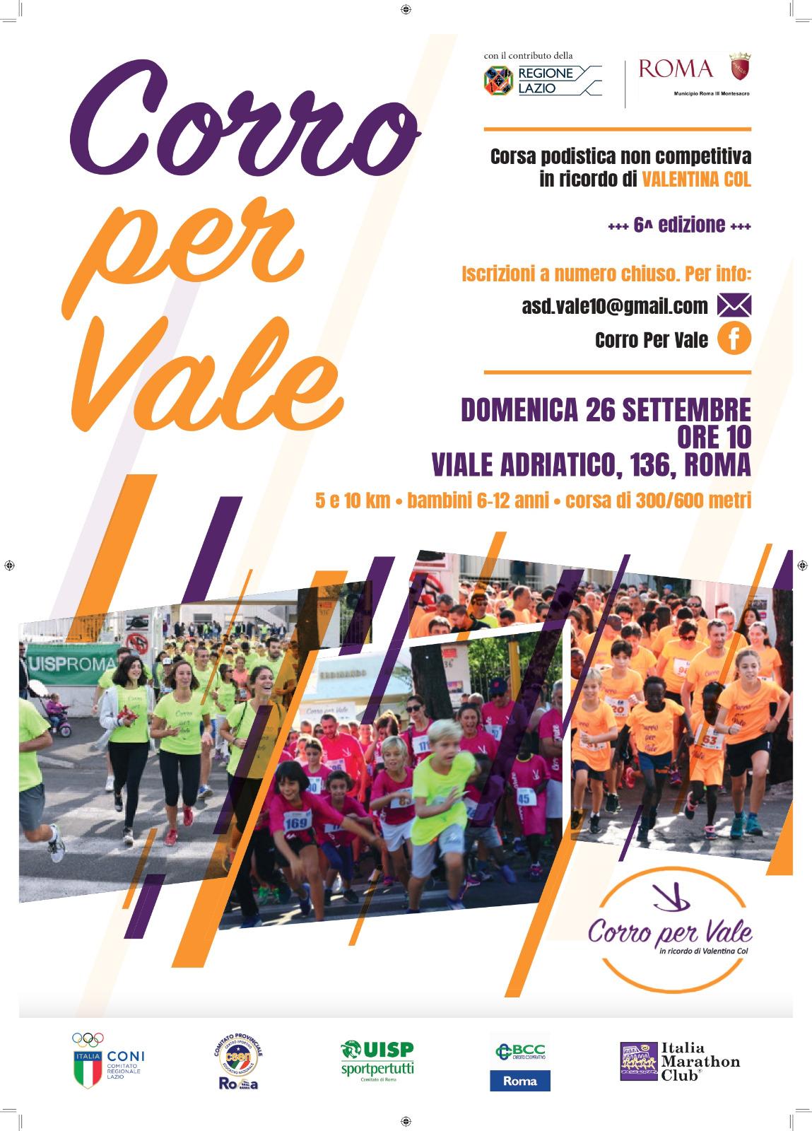 Corro per Vale, domenica 26 settembre la 6° edizione