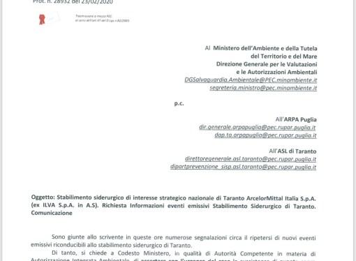 Emissioni industriali, Melucci scrive al Ministero dell'Ambiente