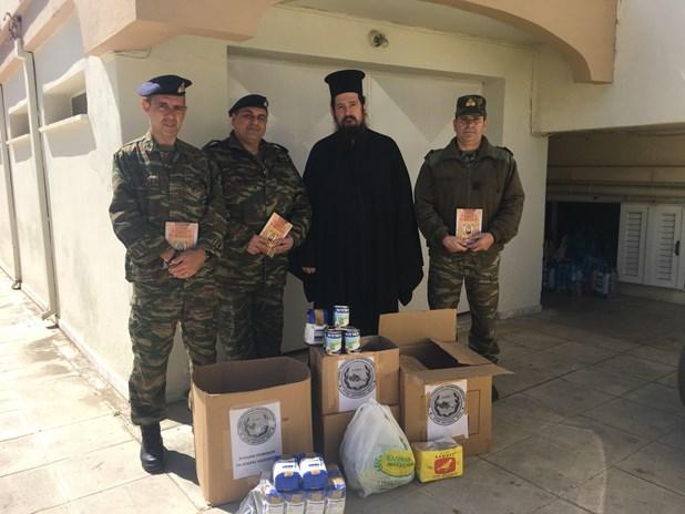 Tρόφιμα στην Ιερά Μητρόπολη από την Ενωση Στρατιωτικών Περιφέρειας Θεσσαλίας