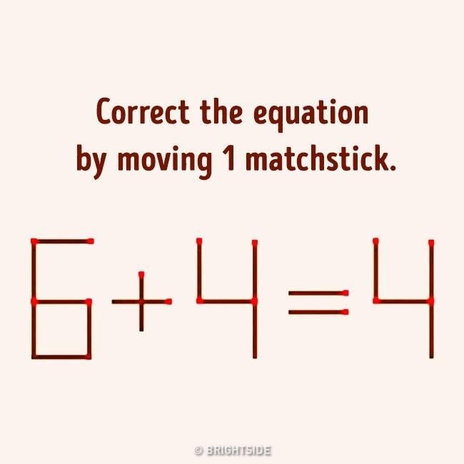Μετακίνησε μόνο ένα σπίρτο για να ολοκληρωθεί η εξίσωση