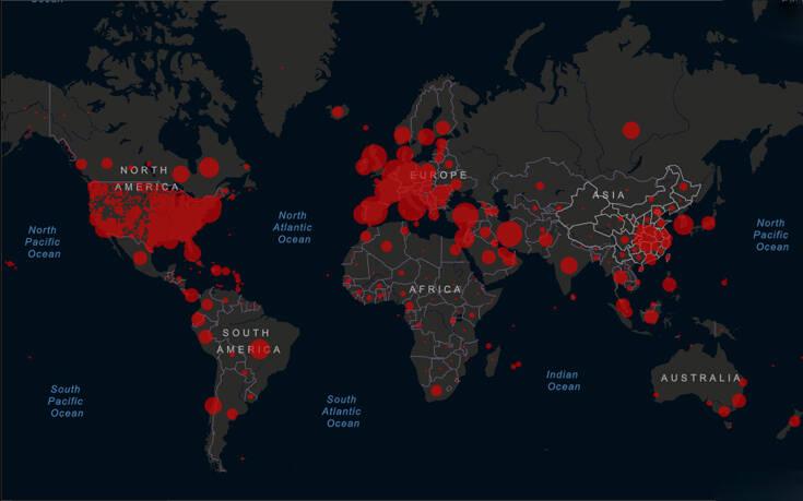 Κορονοϊός: Ο χάρτης που καταγράφει λεπτό προς λεπτό την εξέλιξη κρουσμάτων και θυμάτων