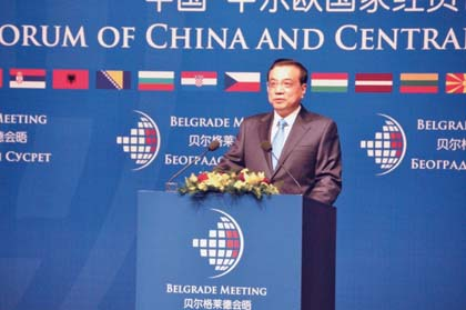 EIRNS/Christopher Lewis  The importance of Greece to the nations of the BRICS is reflected in the attention China is paying to Europe, and especially the Balkan region. Here, Chinese Prime Minister Li Keqiang at the December 2014 meeting of the Forum of China and the Central and Eastern European Countries, held in Belgrade, Serbia..
