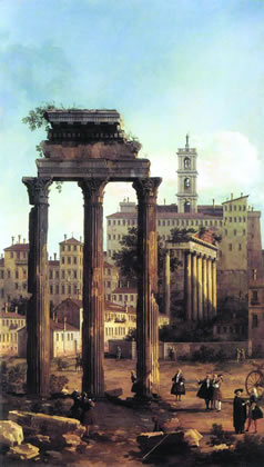 "As with the Roman Empire, which collapsed in the 5th Century, today's hyperinflated British Empire has reached the fag end of its tyrannies. Either it will soon disappear, or the entire planet will sink into a prolonged, global nightmare, a new ""Dark Age."" Shown: ""Rome: Ruins of the Forum, Looking towards the Capitol,"" by Canaletto, 1742."