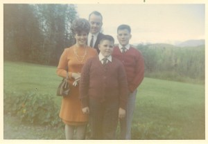 Harry Sr., Harry Jr., Madeline & Dean Standing in front of the house, late 60s.