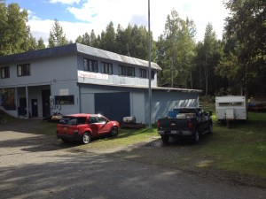 Harry & Madeline little camp-trailer sitting by the shop in Chugiak Alaska. Taken 11/10/2012