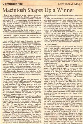 Original 1984 review of Apple Mac