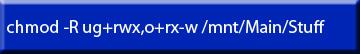 Command Line Change file permission example