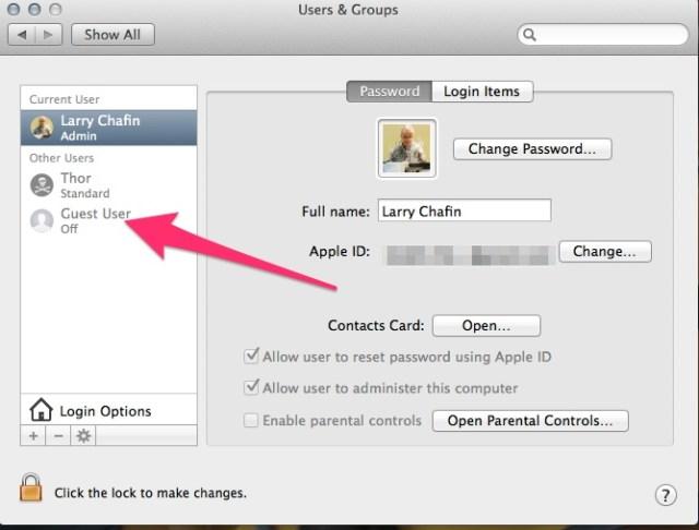 OS X User & Groups Preference Pane