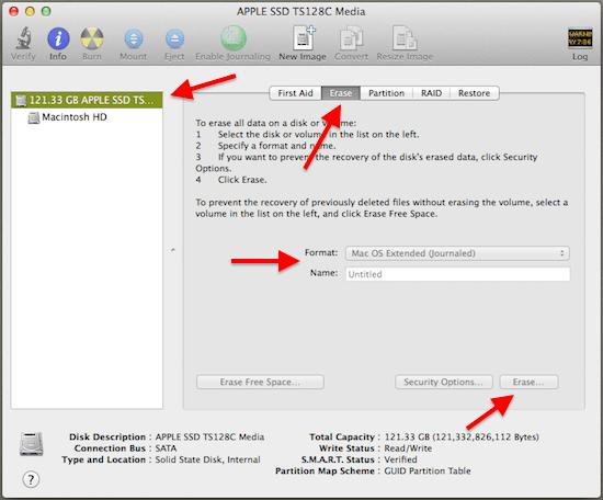 OS X Disk Utility Erase Drive