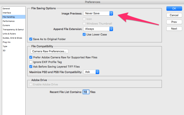 """Photoshop Configuration for """"Could Not Save File Because Write Access Was Not Granted"""""""