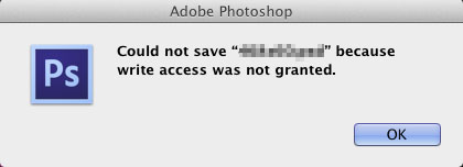 Photoshop Cannot save file because write access not granted