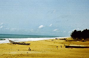 Surf pounding the Slave Coast of Ouidah