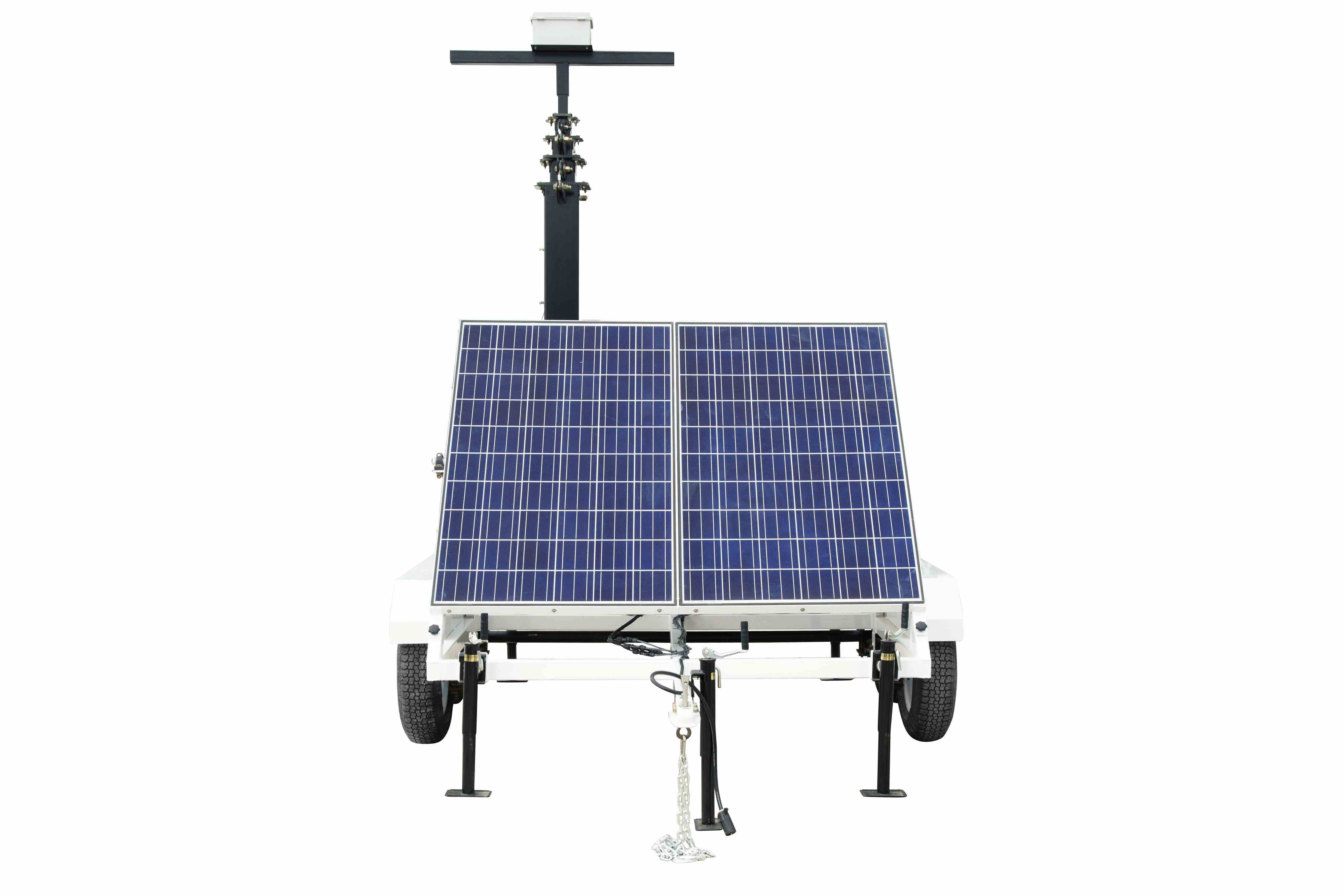 Portable Solar 30 Light Tower 12v 250ah Gel Cell Battery W Charger Tandem Axle Trailer