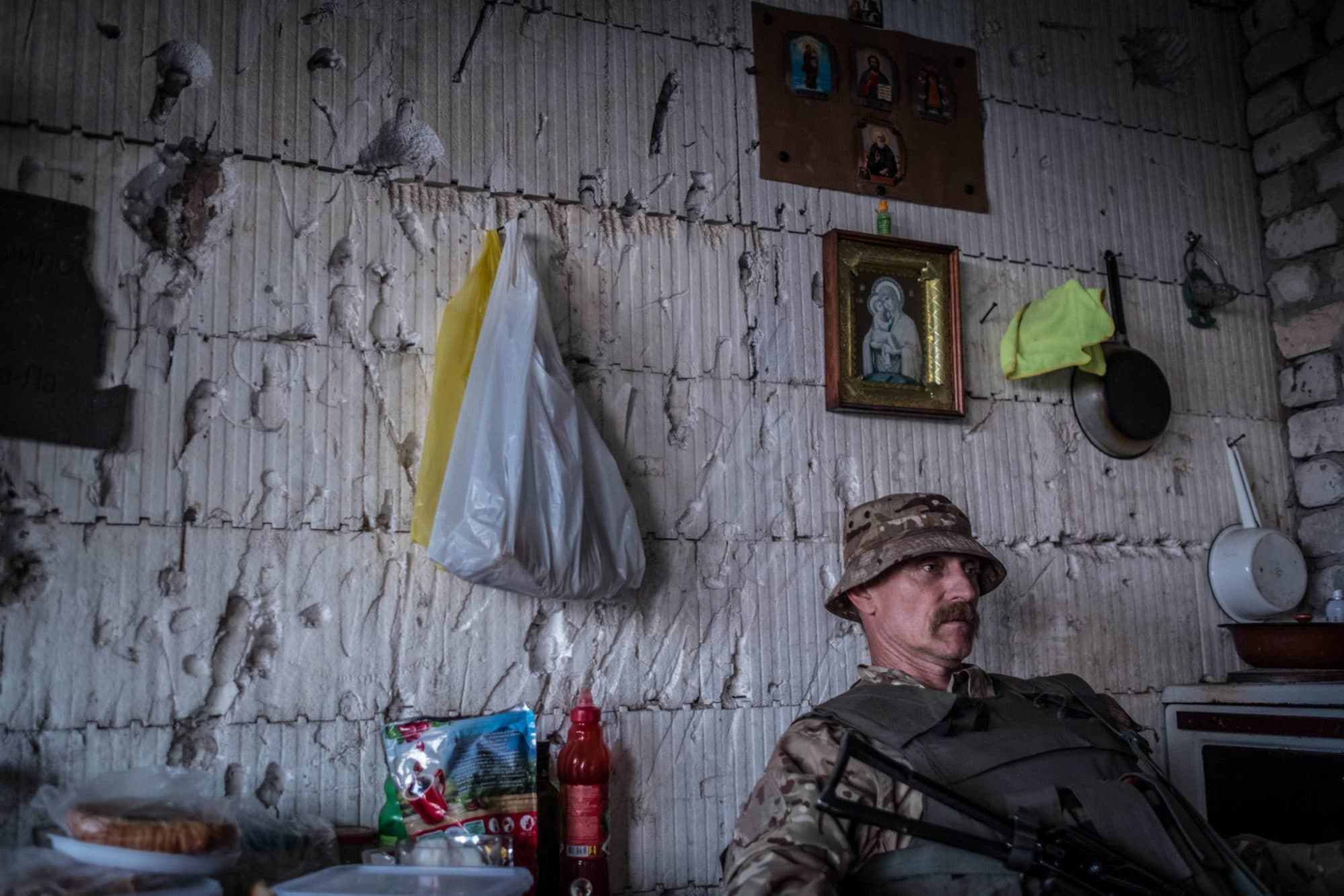 "Soldier from ""Ukraine's Voluntary Army"", waiting at the front to the enemy"