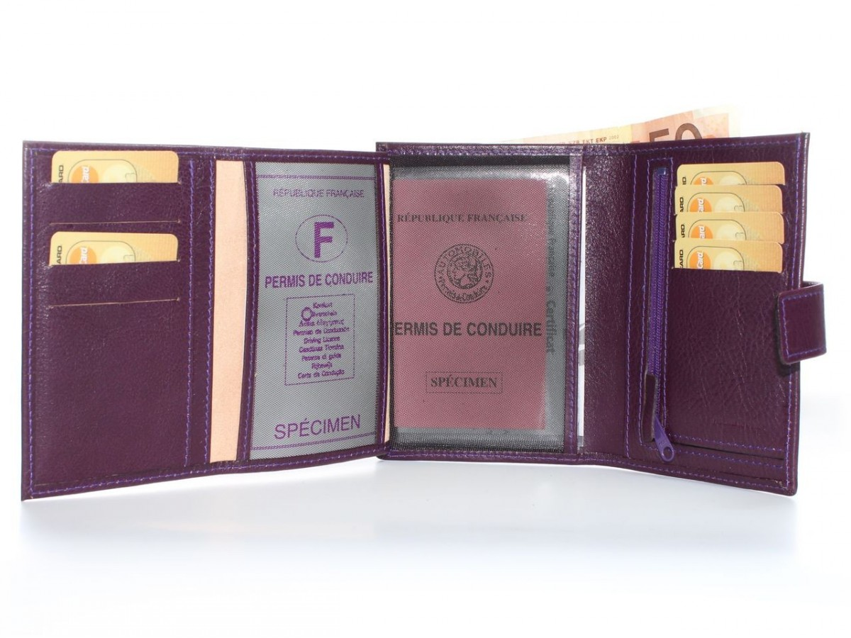 Portefeuille Femme Cuir 4 Volets En Violet 320