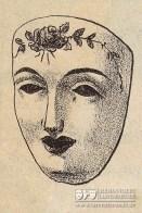 ... mit der Abbildung einer mit Rosen verziehrten Pappmasche-Larve aus einem französischen Maskenkatalog des Jahres 1903