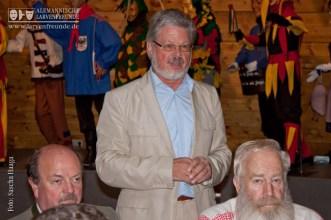 Roland Wehrle, Präsident der VSAN, hieß als Gastgeber des Narrenschopfes die Larvenfreunde herzlich willkommen