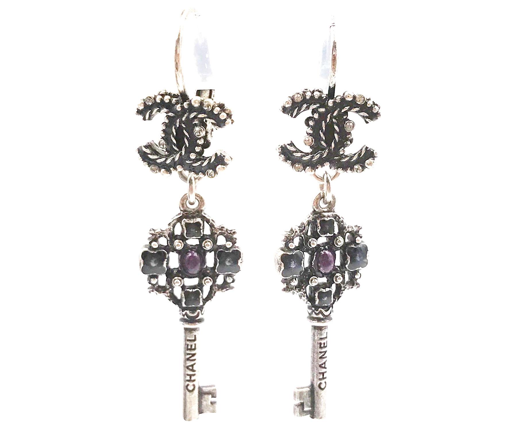 Chanel Brand New Gunmetal Cc Key Piercing Earrings