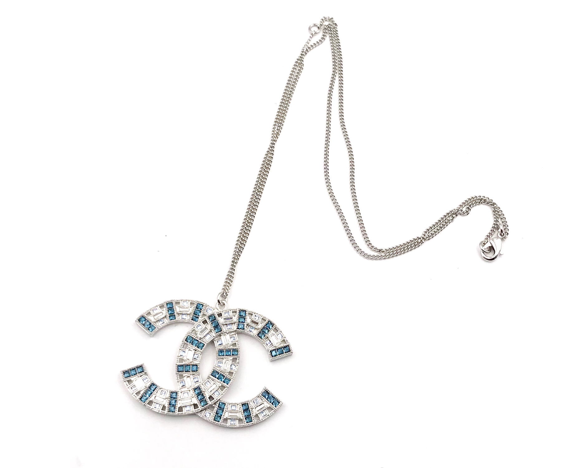 Chanel Silver Cc Light Blue Crystal Large Pendant Necklace