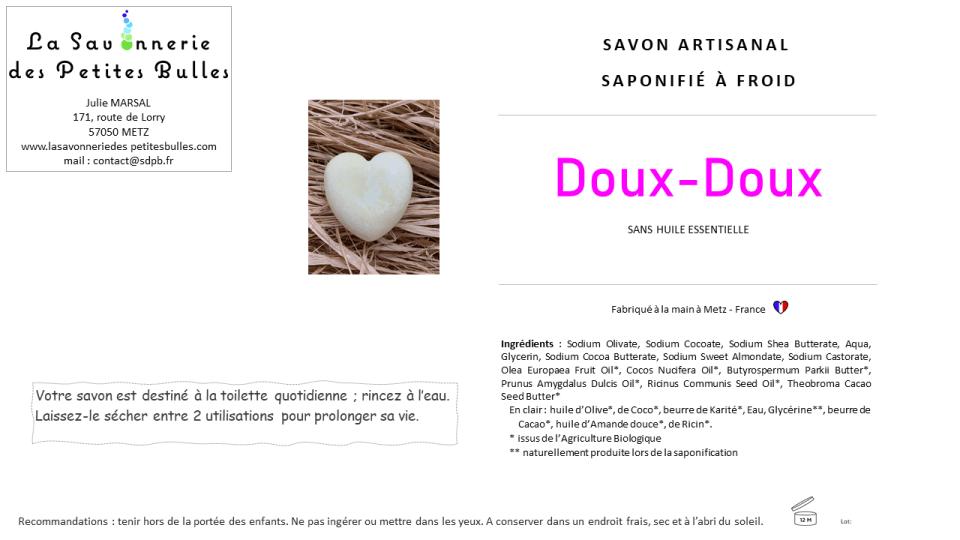 Etiquette savon Doux
