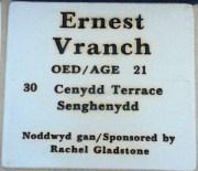 Plaque Ernest Vranch