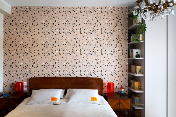 carta da parati rose fermliving camera da letto vintage moderno