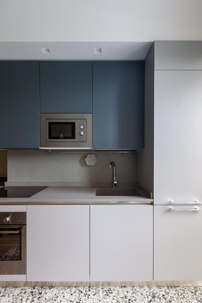 cucina blu grigia