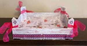 Mi morena reciclar cajas de la fruta lazos rosas
