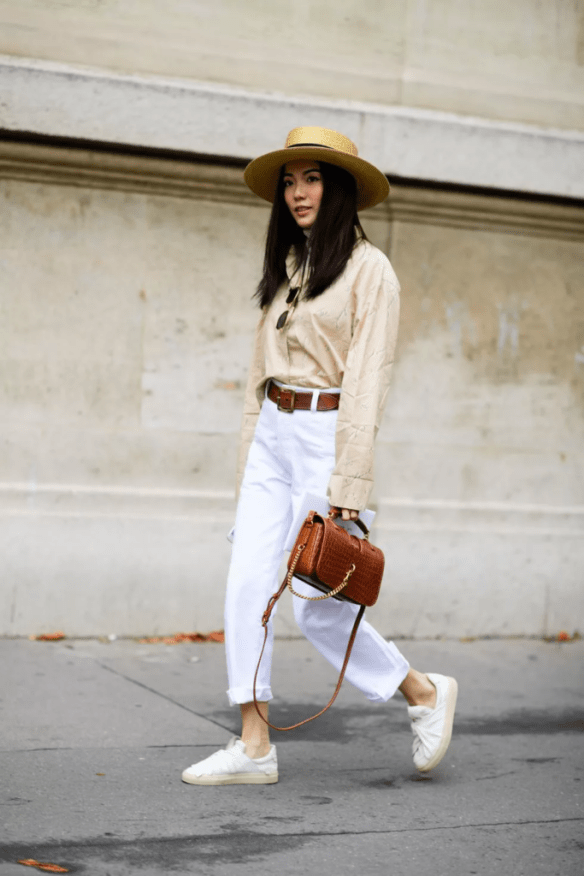 How to wear white jeans,a nice spring look with neutral colours - La Selectiva