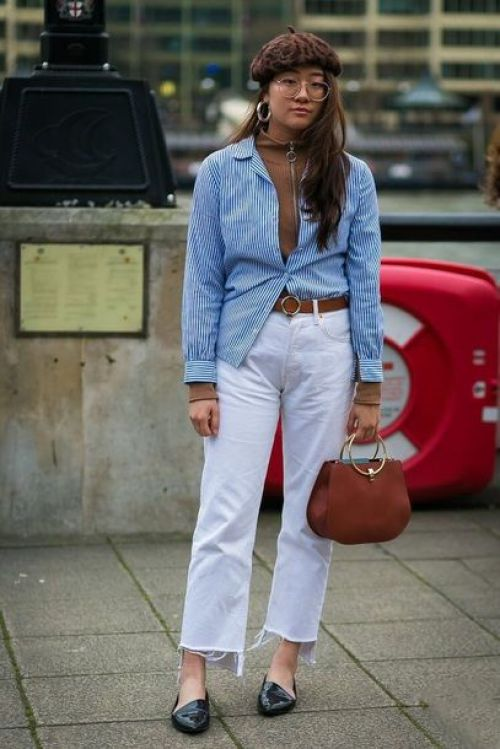 How to wear white jeans with hoops accessories - La Selectiva