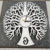 Lasercut24 - Lebensbaum Wanduhr mit Uhrwerk