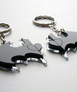 Best Friends Batman Keychain - Friendship Keychains - Engraved Heart