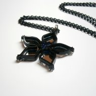 Wayfinder Necklace, Black and Mirror Plastic