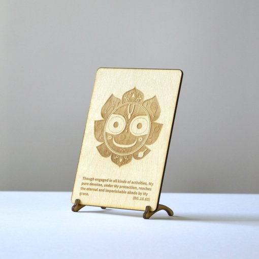Jagannath Postcards laser cut from woode and engraved with bhagavad gita text 2