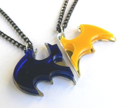 Batman Batwoman couple necklaces Laser cut from blue and yellow plastic
