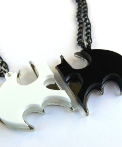 Batman best friends necklaces Laser cut from mirror white and black plastic 2