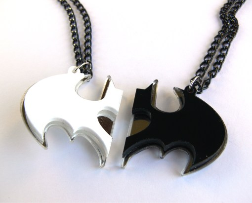 Friendship Batman necklaces Laser cut from white and black plastic