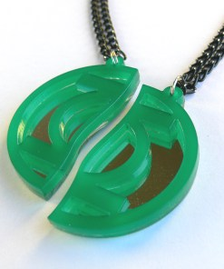 Best friends Green Lantern necklaces Laser cut from mirror and green plastic