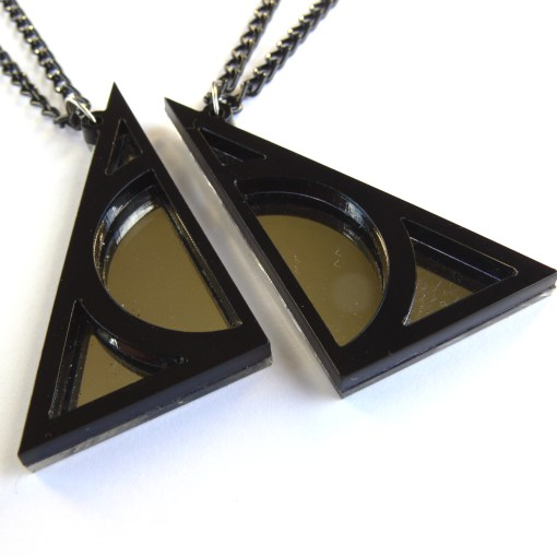 Harry Potter Deathly Hallows best friends necklaces Laser cut from mirror and black plastic