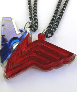 Nightwing Wonder Woman couple necklaces Laser cut from blue and red plastic