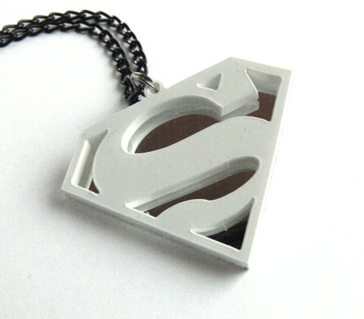 Superman necklace Laser cut white and mirror plastic pendant