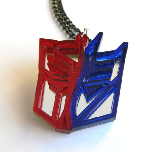 Transformers two face necklace Laser cut from red and blue plastic