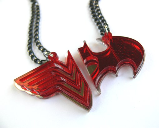 Wonder Woman Batman couple necklaces Laser cut from mirror and red plastic
