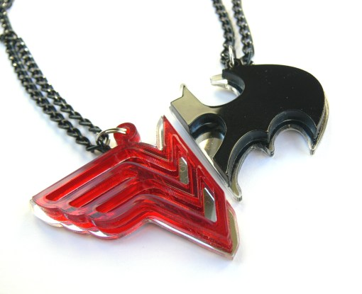 Wonder Woman Batman couple necklaces Laser cut from red and black plastic