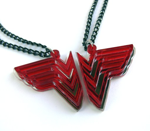 Wonder Woman best friends necklaces Laser cut from mirror and red plastic