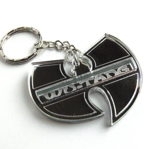 Wu Tang Clan keychain Laser cut and engraved mirror plastic